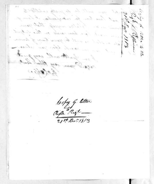 John Coffee to Tennessee Rifle Regiment, December 21, 1813