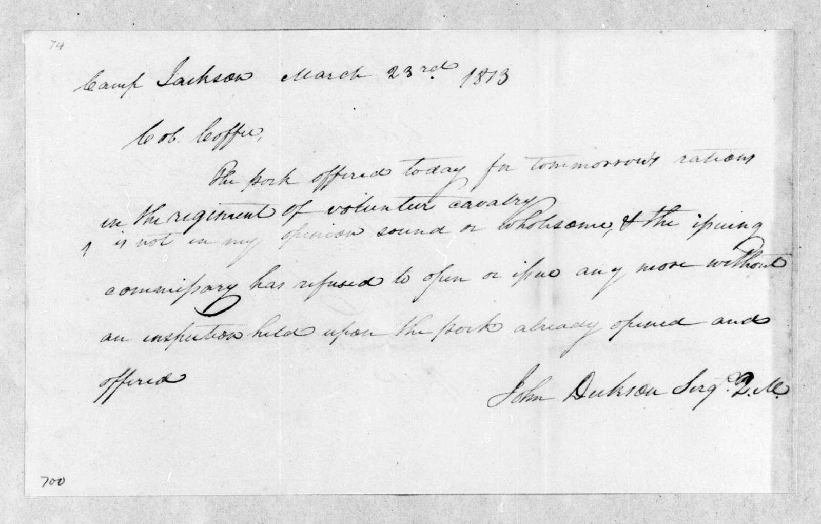 John Dickson to John Coffee, March 23, 1813