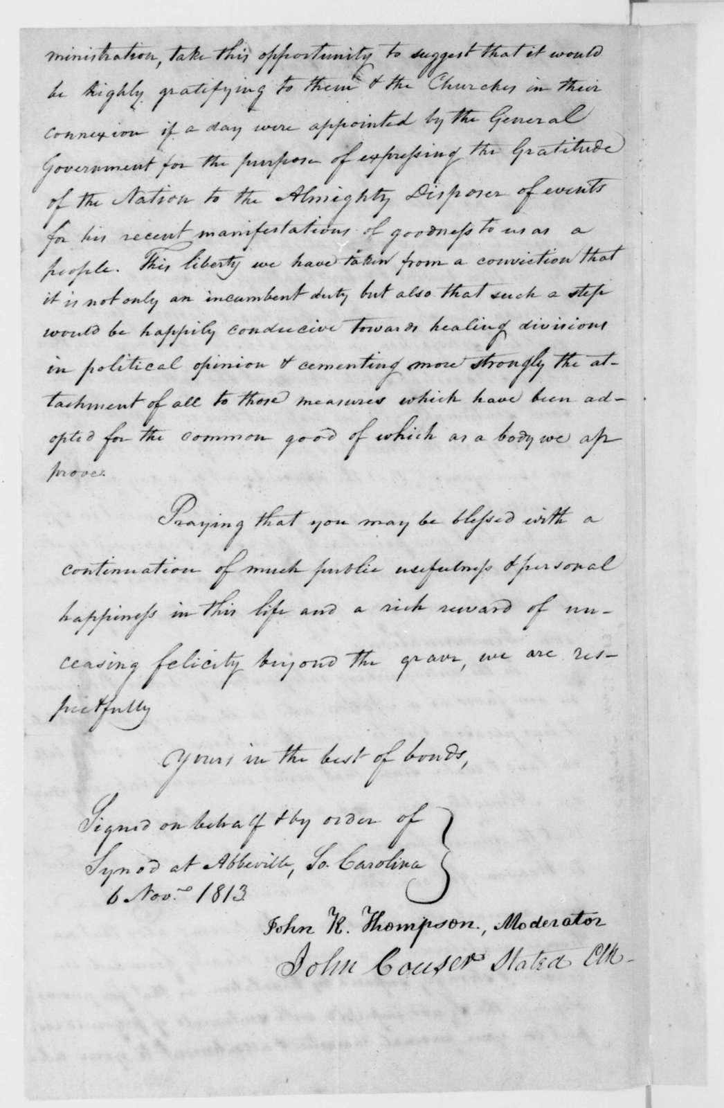 John K. Thompson to James Madison, November 6, 1813.