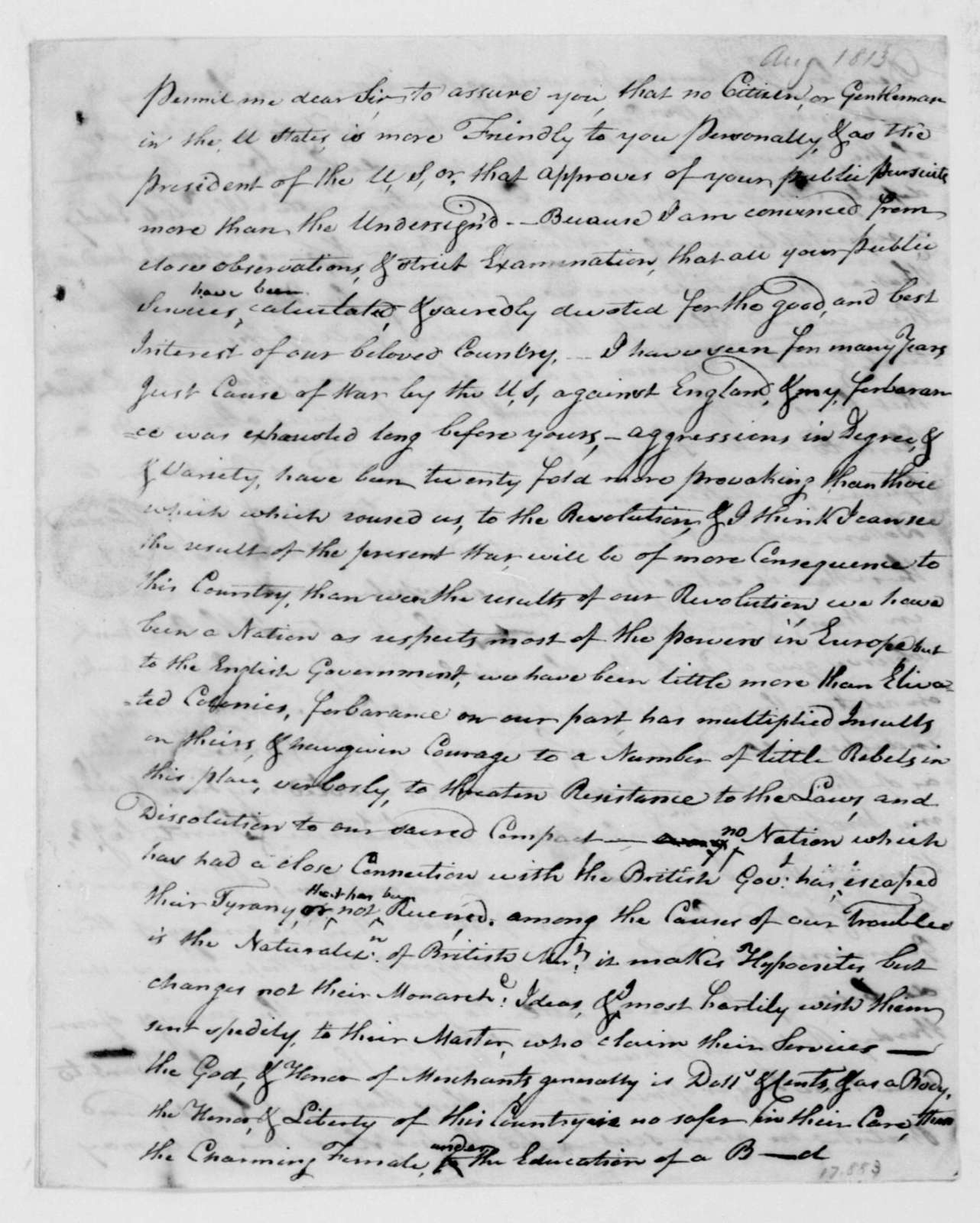 John Page to James Madison, August 4, 1813.