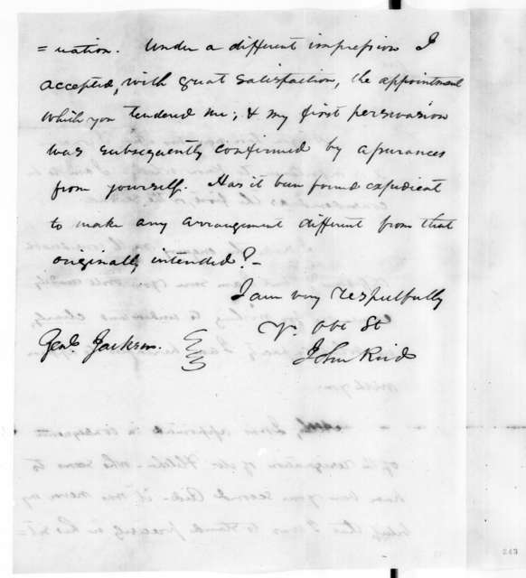 John Reid to Andrew Jackson, December 30, 1813