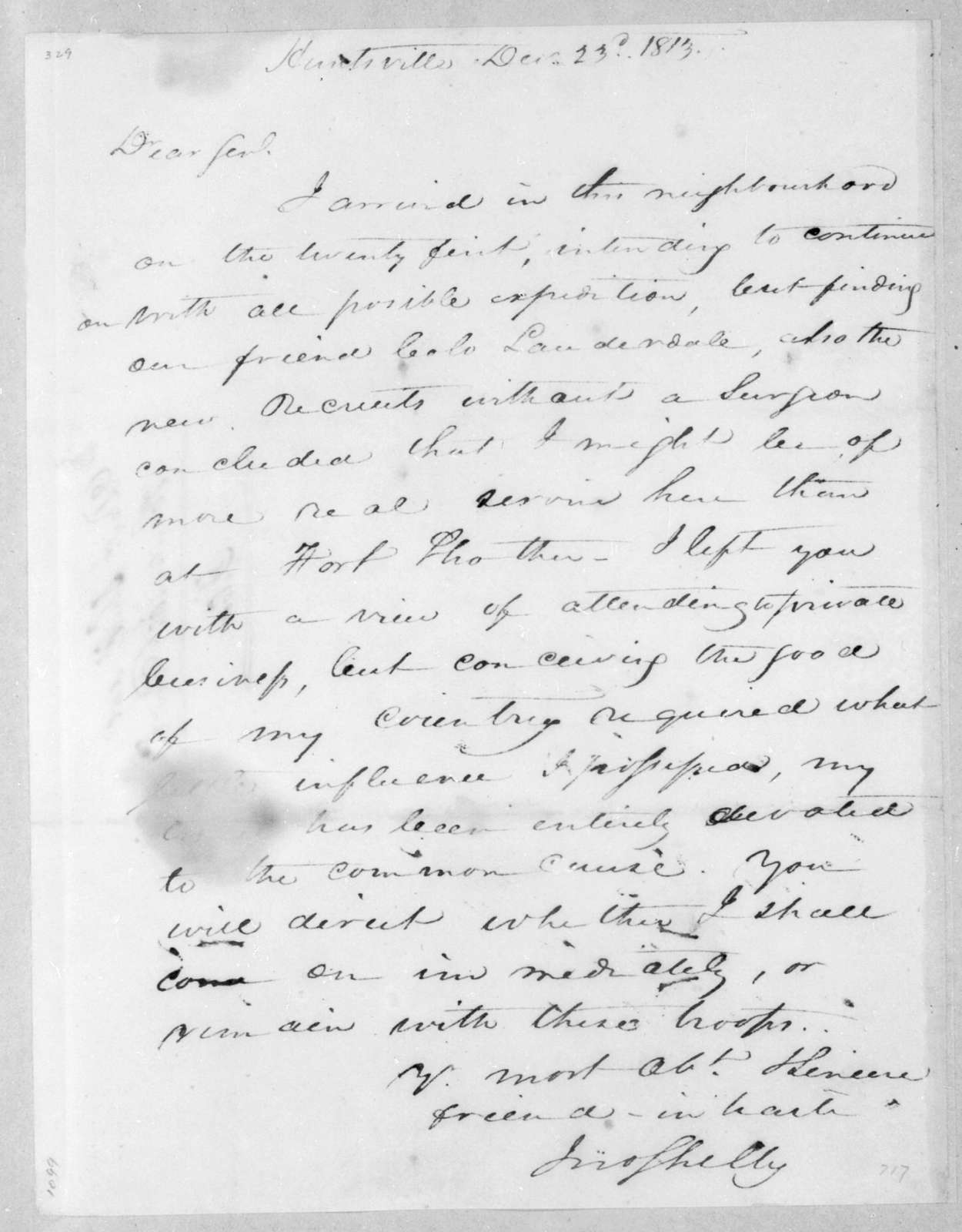 John Shelby to Andrew Jackson, December 23, 1813