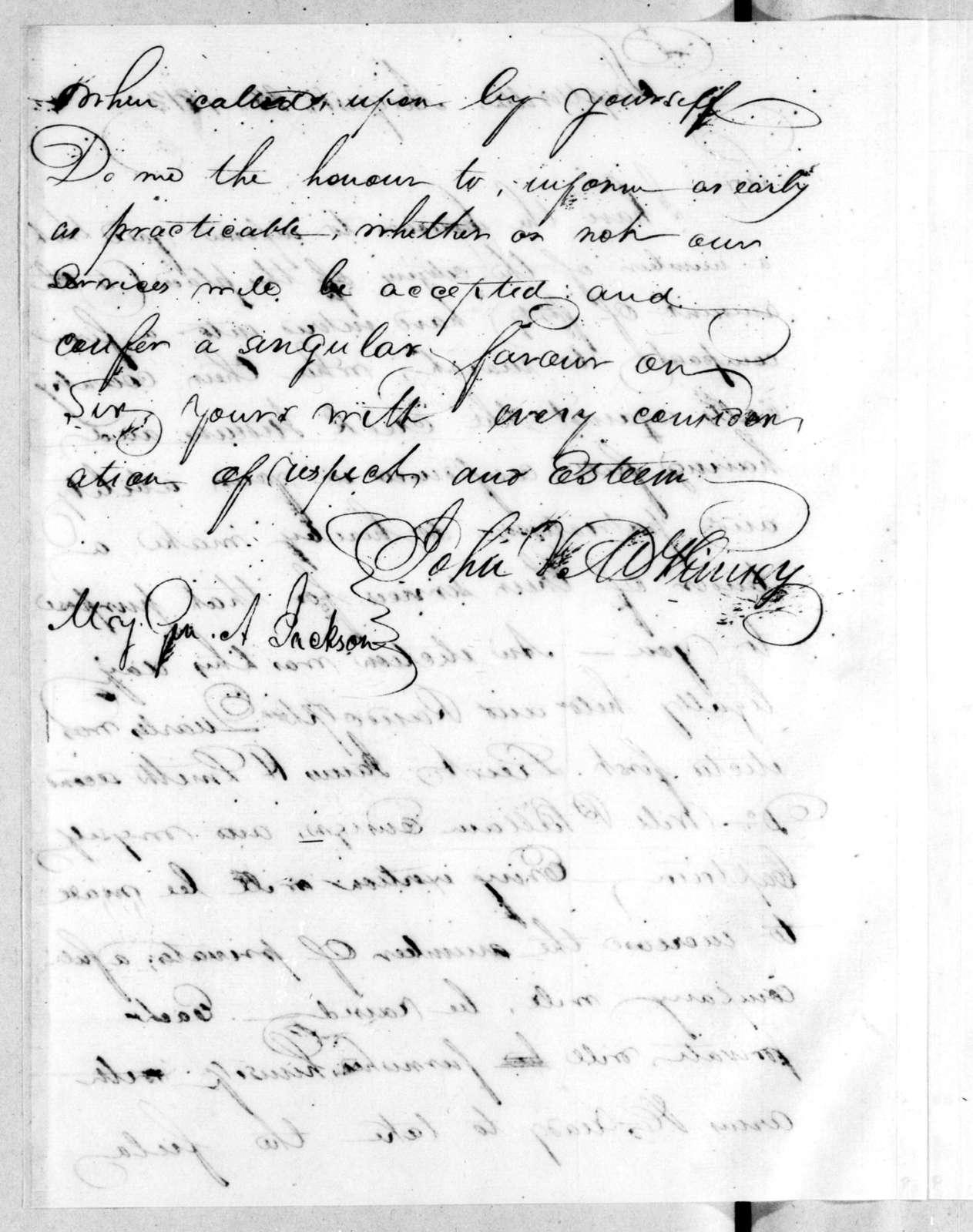 John V. McKinney to Andrew Jackson, August 28, 1813