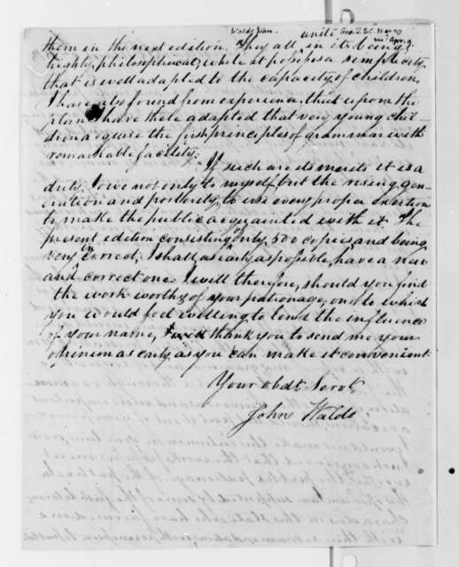 John Waldo to Thomas Jefferson, March 27, 1813