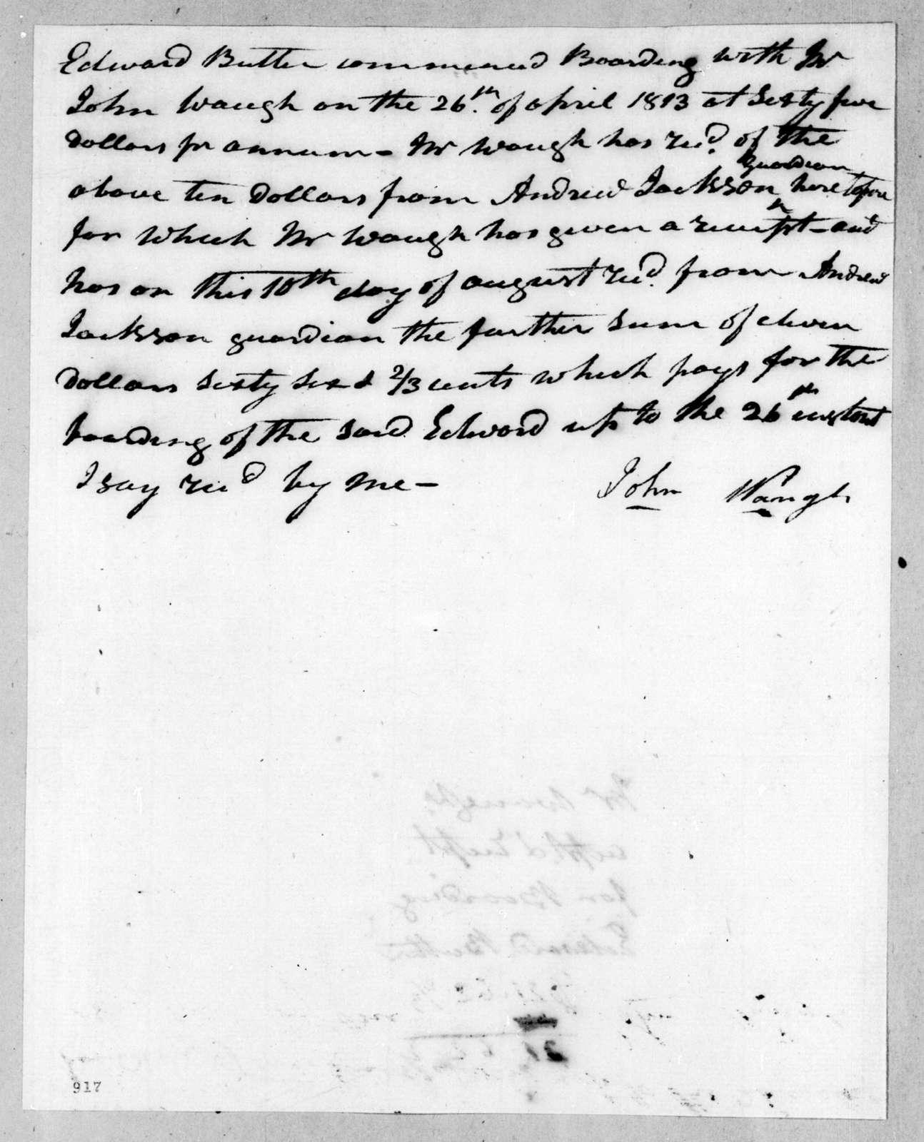 John Waugh to Andrew Jackson, April 26, 1813