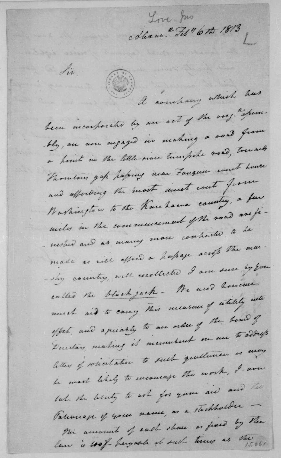 Jonathan Love to James Madison, February 6, 1813.