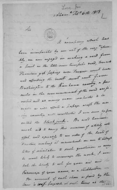Jonathan Love to James Madison, February 6, 1813.