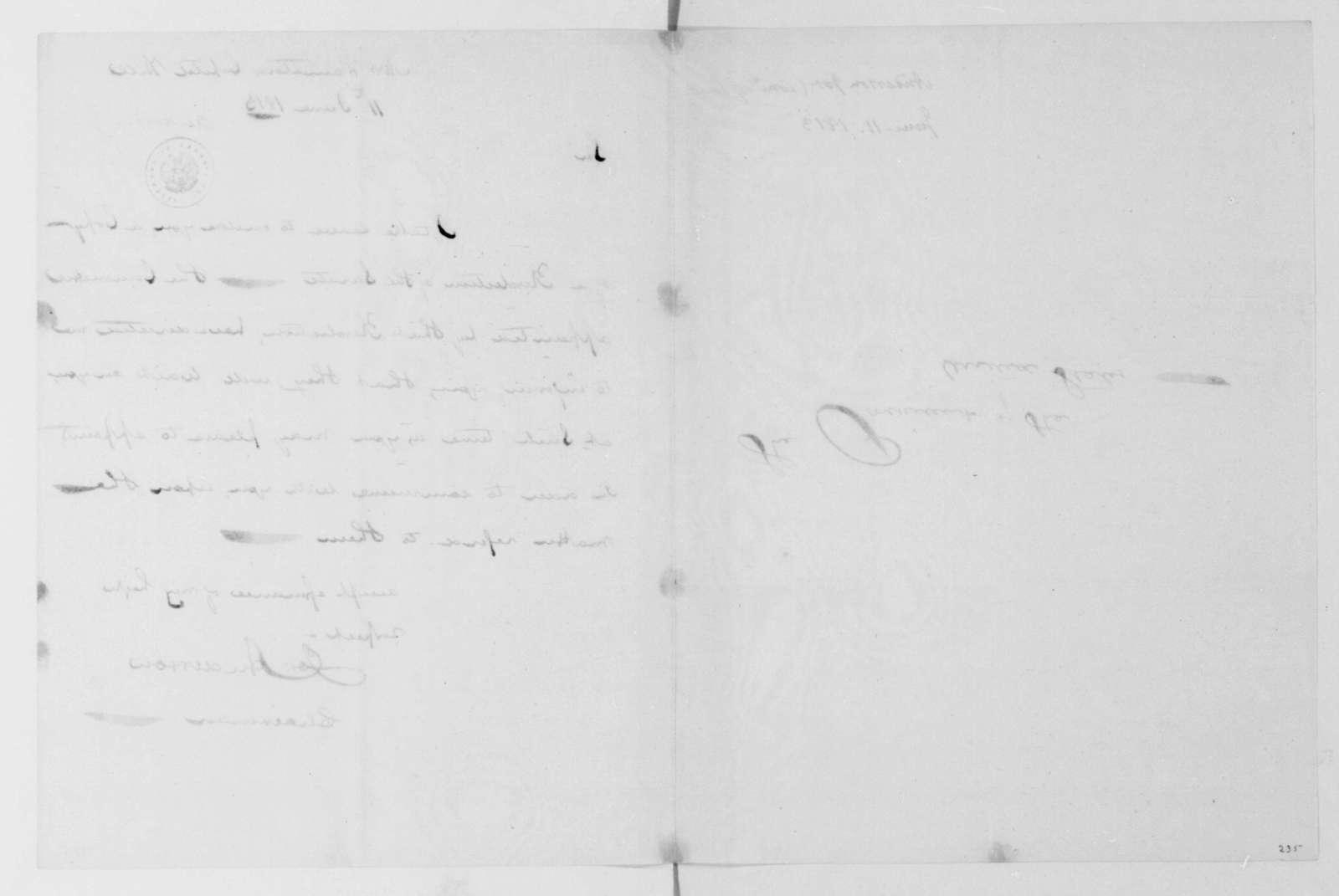 Joseph Anderson to James Madison, June 11, 1813.