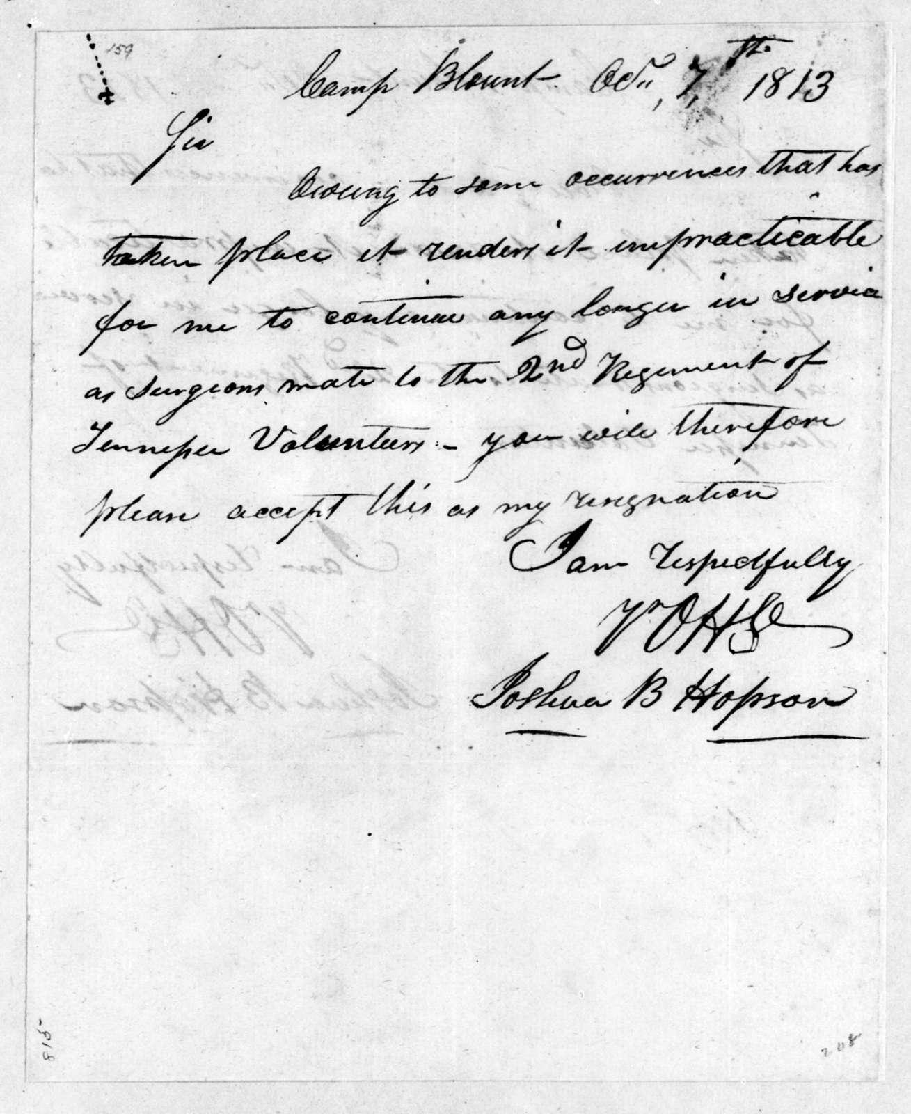 Joshua B. Hobson to Andrew Jackson, October 7, 1813