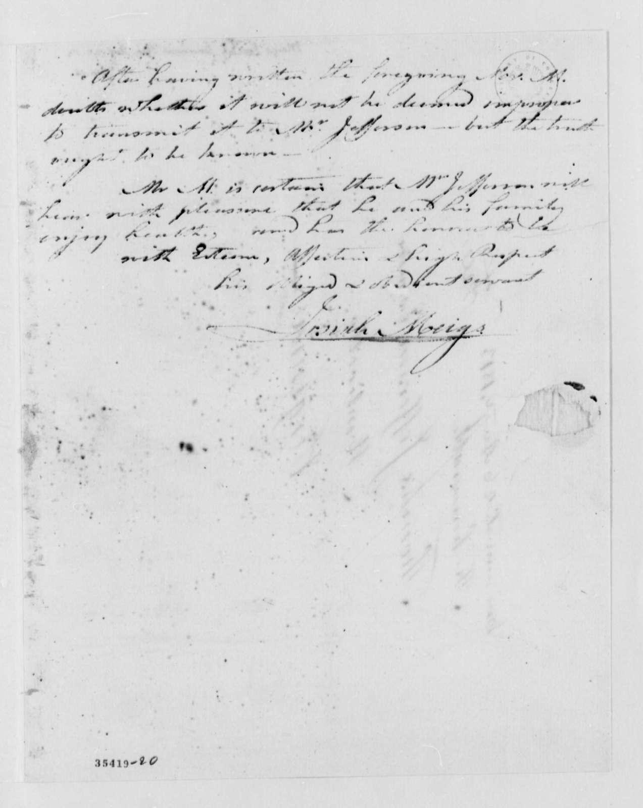 Josiah Meigs to Thomas Jefferson, August 25, 1813