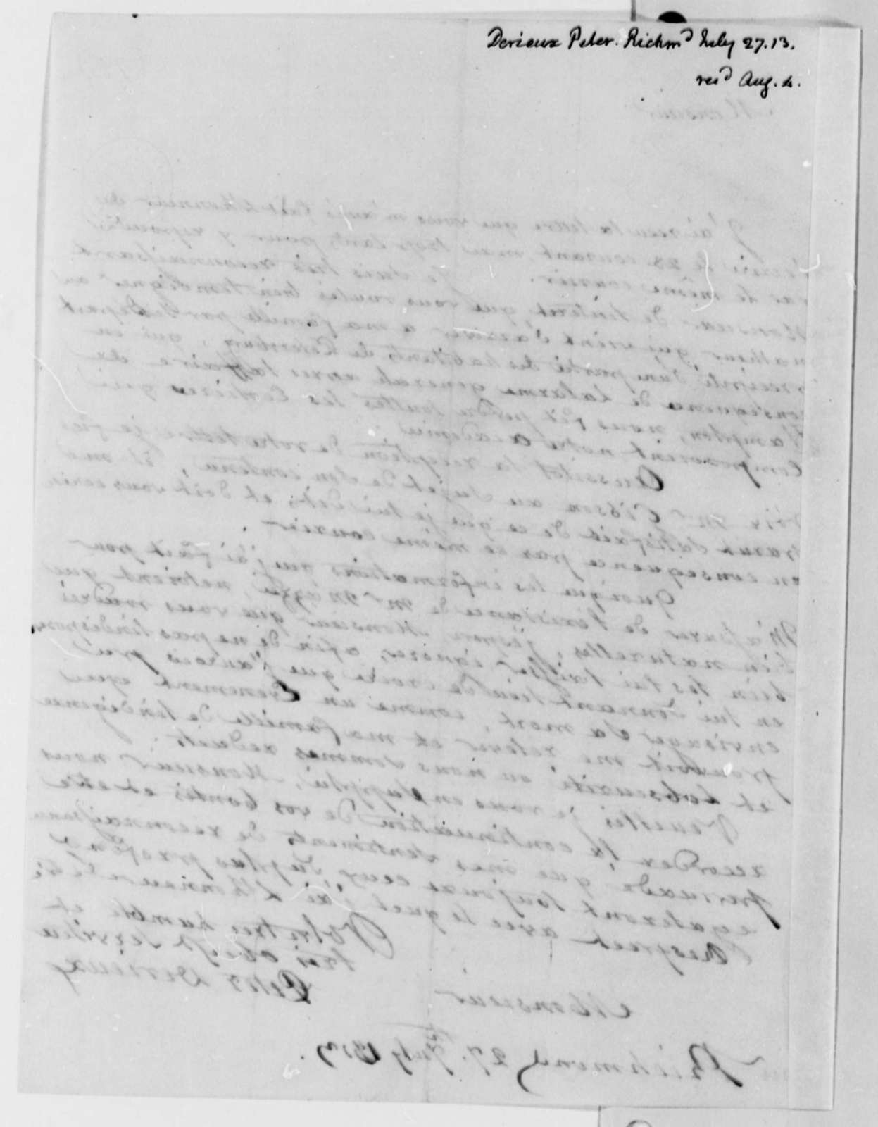 Justin Pierre Plumard Derieux to Thomas Jefferson, July 27, 1813, in French