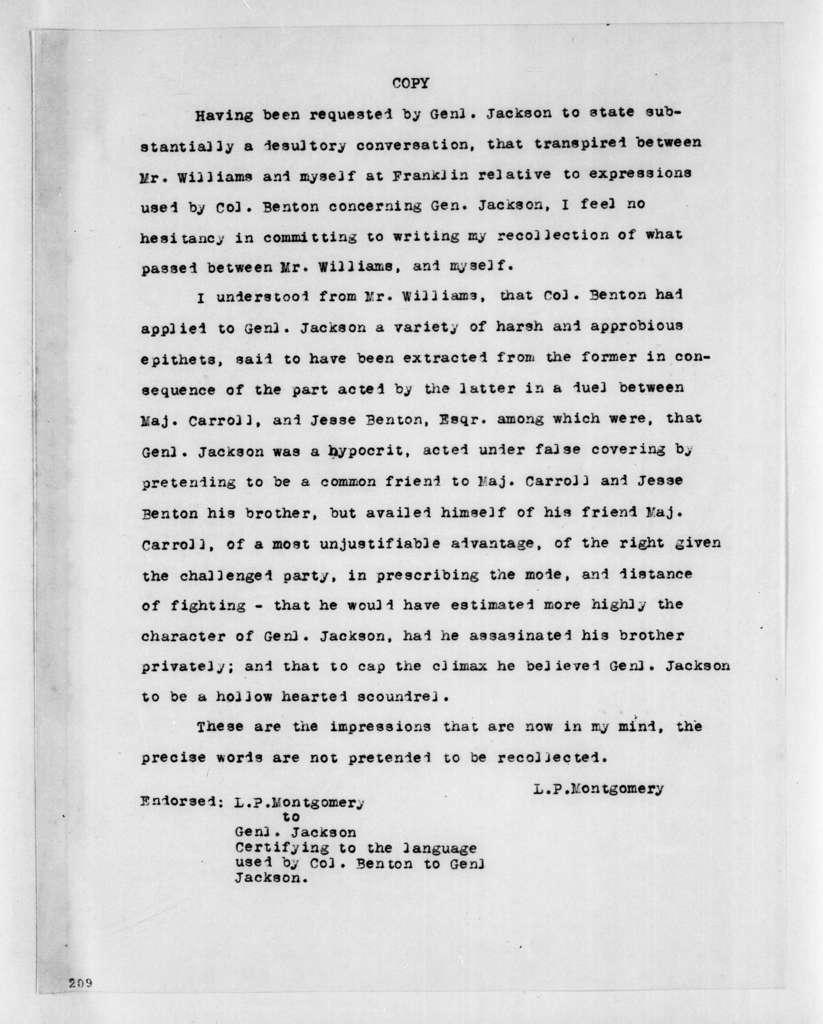 L. P. Montgomery to Andrew Jackson, July 21, 1813
