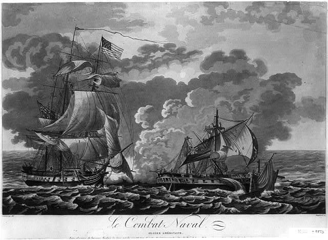 Le Combat naval, gloire Américaine / Garneray,del ; Coquerel,sc.