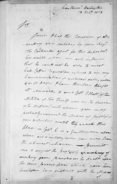 Leonard Covington to James Henderson, February 13, 1813