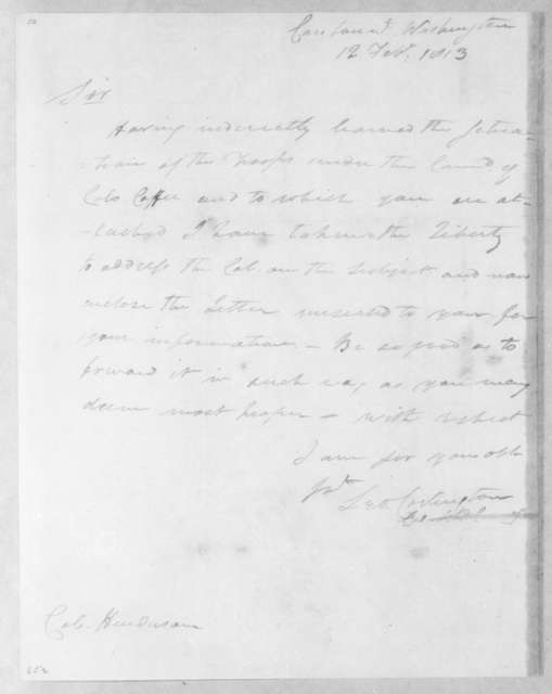 Leonard Covington to William T. Henderson, February 12, 1813