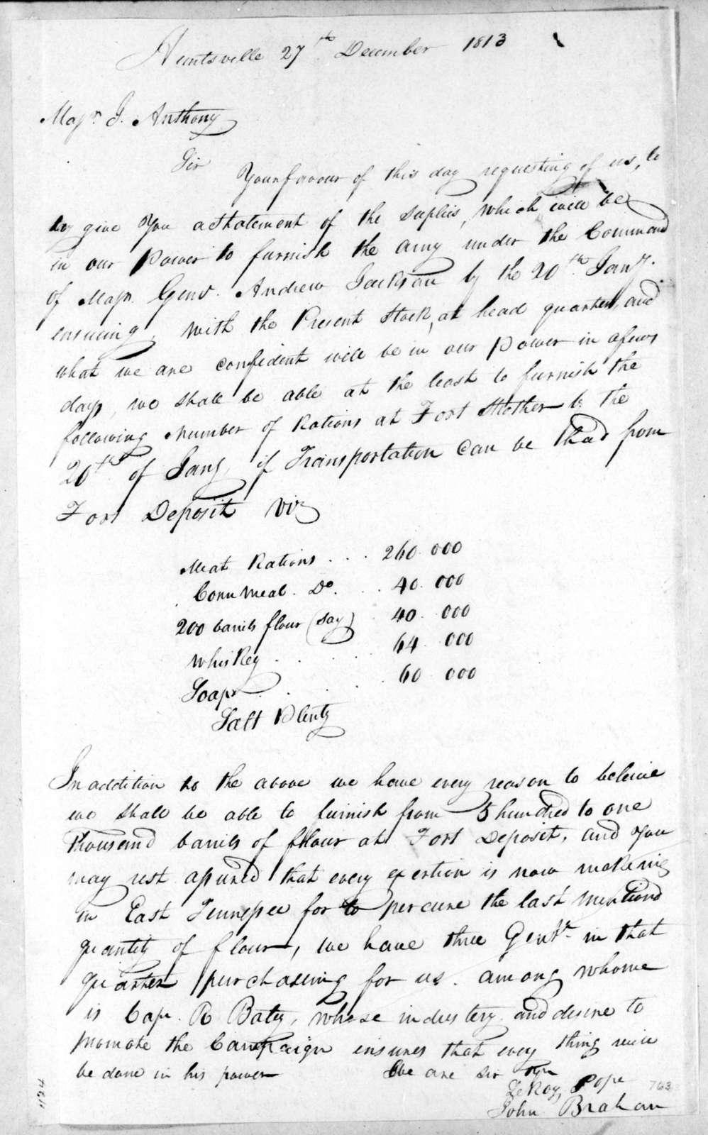 Leroy Pope & John Brahan to Joseph Anthony, December 27, 1813