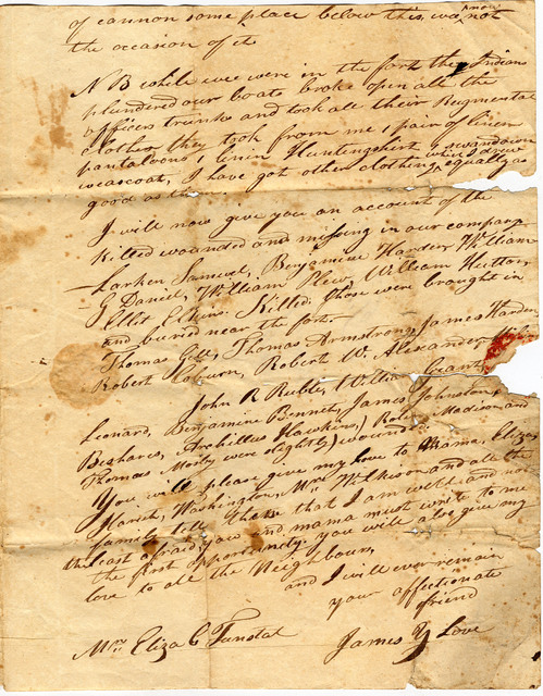 Letter from James Young Love to Eliza Tunstal - PICRYL