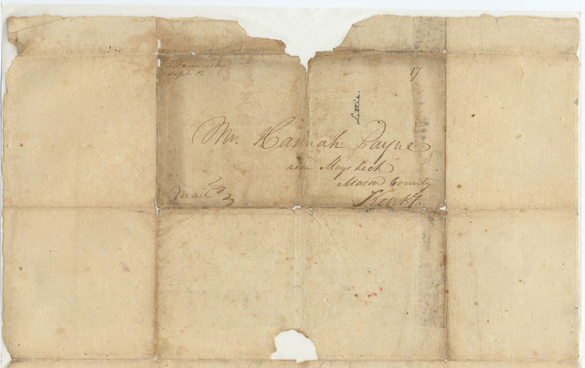 Letter from John Payne to Hannah Payne