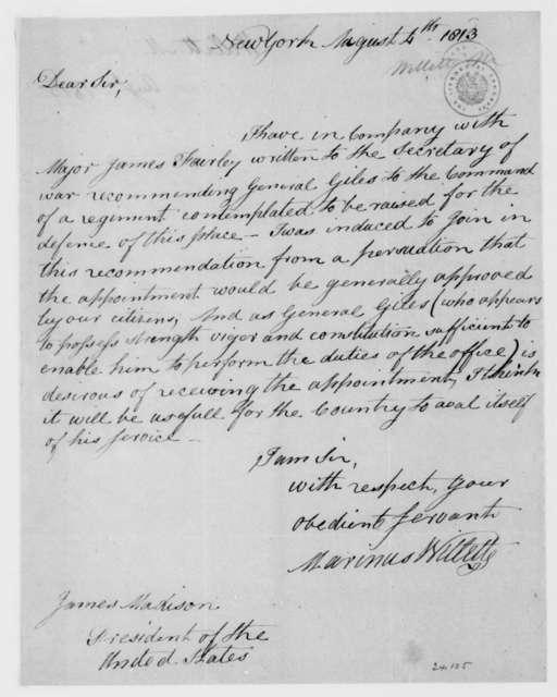 Marinus Willett to James Madison, August 4, 1813.
