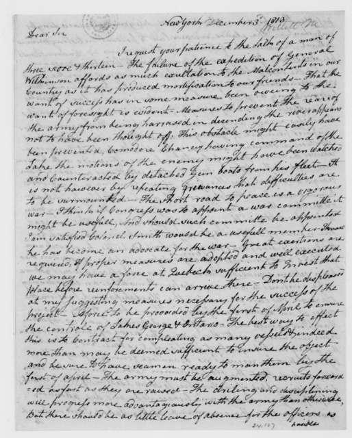 Marinus Willett to James Madison, December 3, 1813.