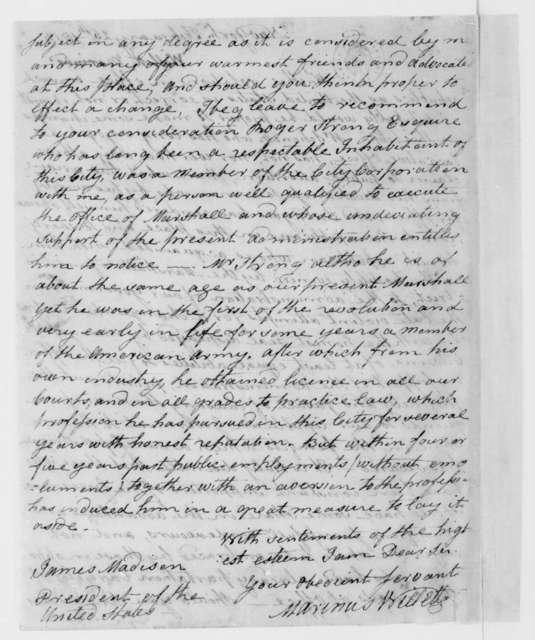 Marinus Willett to James Madison, February 25, 1813.