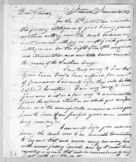 Nathaniel Carroll to Andrew Jackson, November 21, 1813