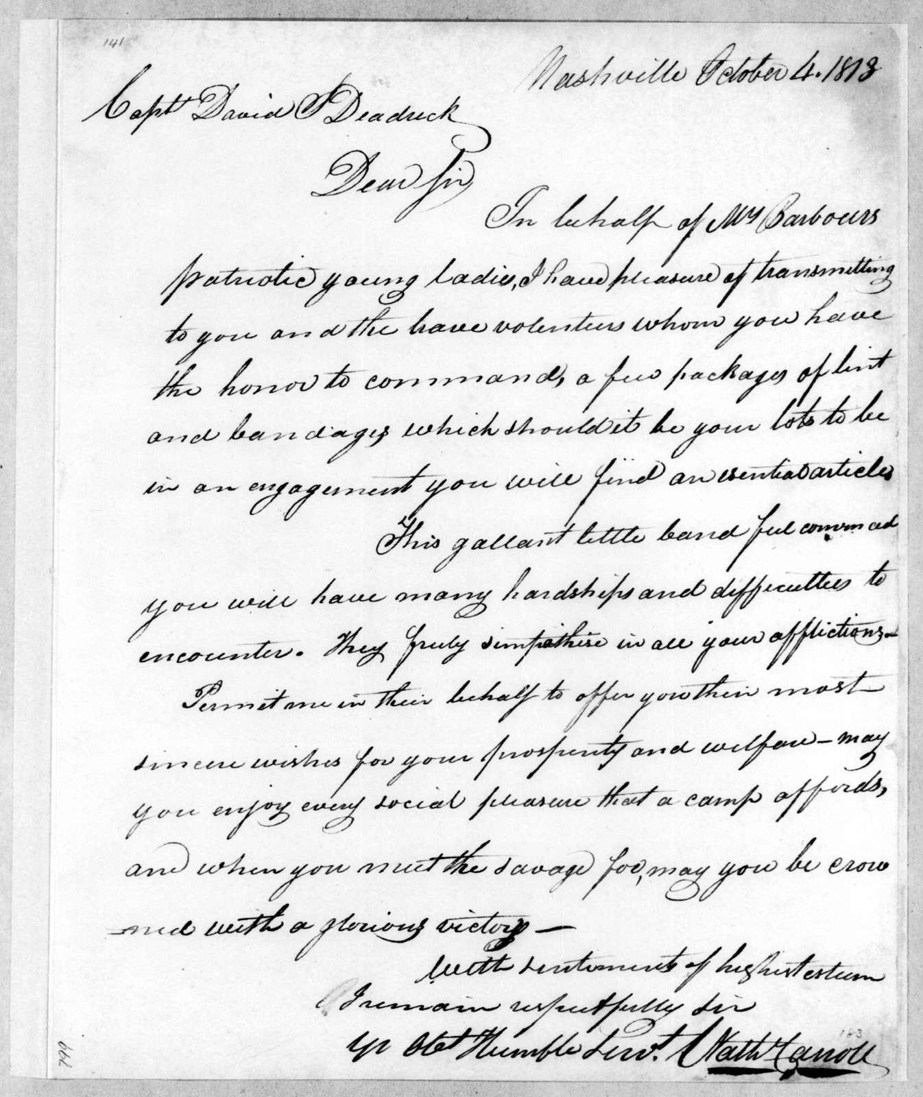 Nathaniel Carroll to David L. Deaderick, October 4, 1813