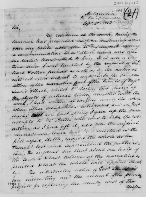 Nicholas Biddle to Thomas Jefferson, September 28, 1813