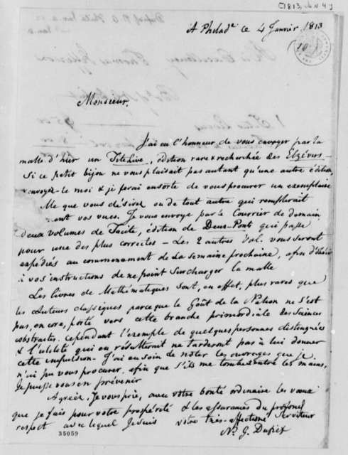 Nicholas Gouin Dufief to Thomas Jefferson, January 4, 1813, in French, with Bill