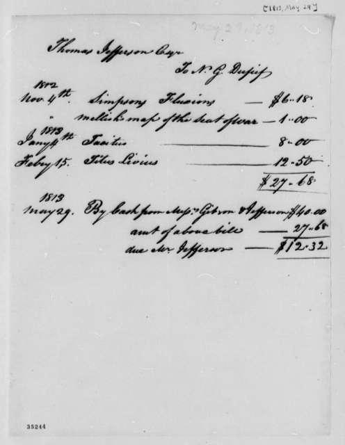 Nicholas Gouin Dufief to Thomas Jefferson, May 29, 1813, Account