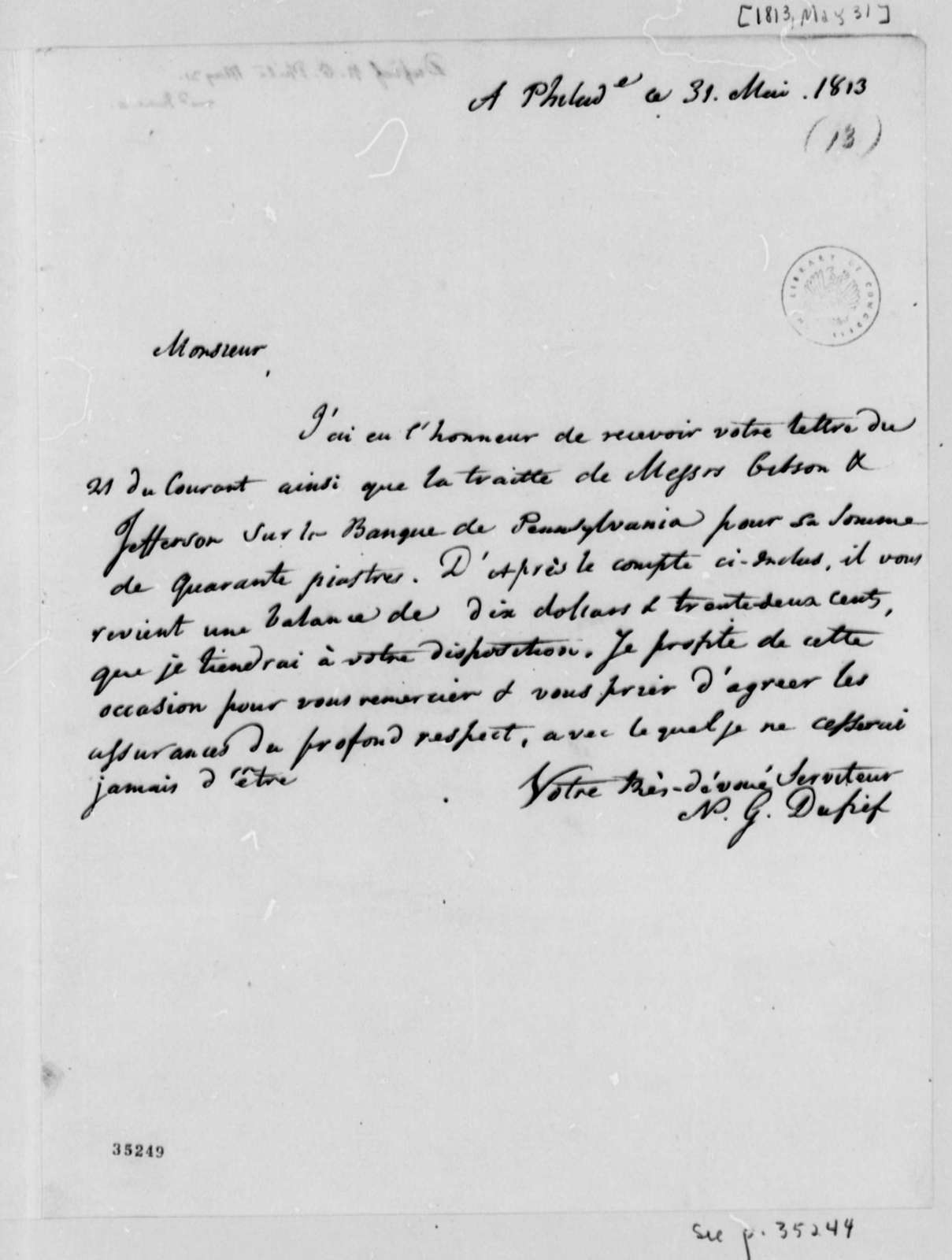 Nicholas Gouin Dufief to Thomas Jefferson, May 31, 1813, in French