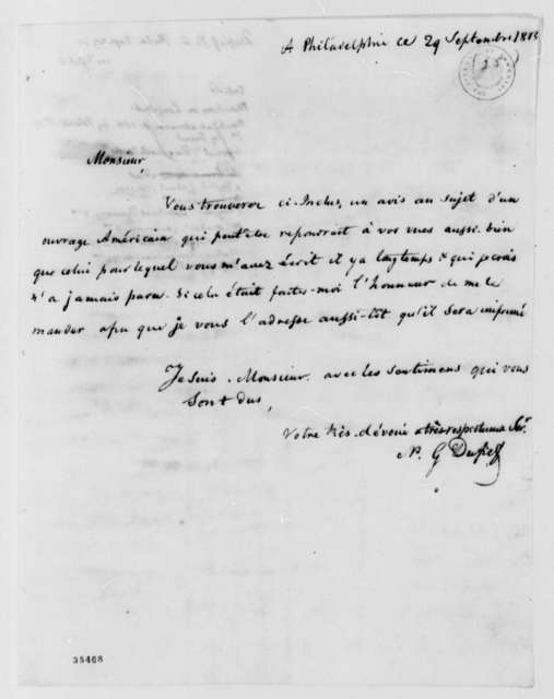 Nicholas Gouin Dufief to Thomas Jefferson, September 29, 1813, in French with Thomas Jefferson Note