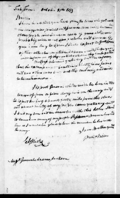 Path Killer [Indian/Native American] to Andrew Jackson, October 29, 1813