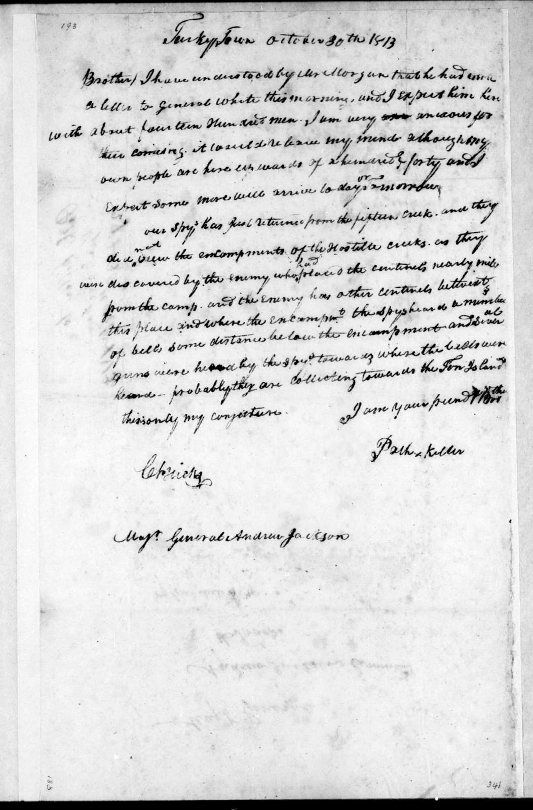 Path Killer [Indian/Native American] to Andrew Jackson, October 30, 1813