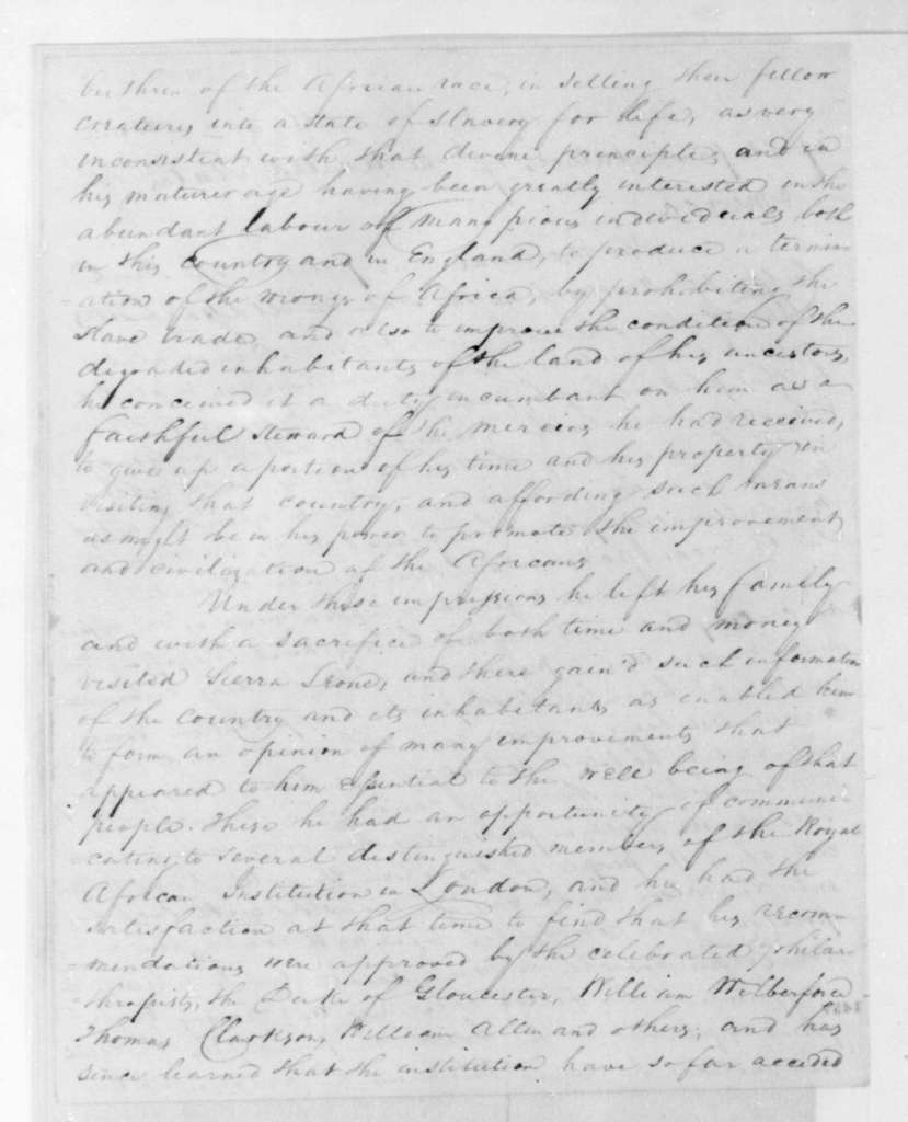 Paul Cuffe to James Madison, June 6, 1813. Also addessed to the United States Congress.