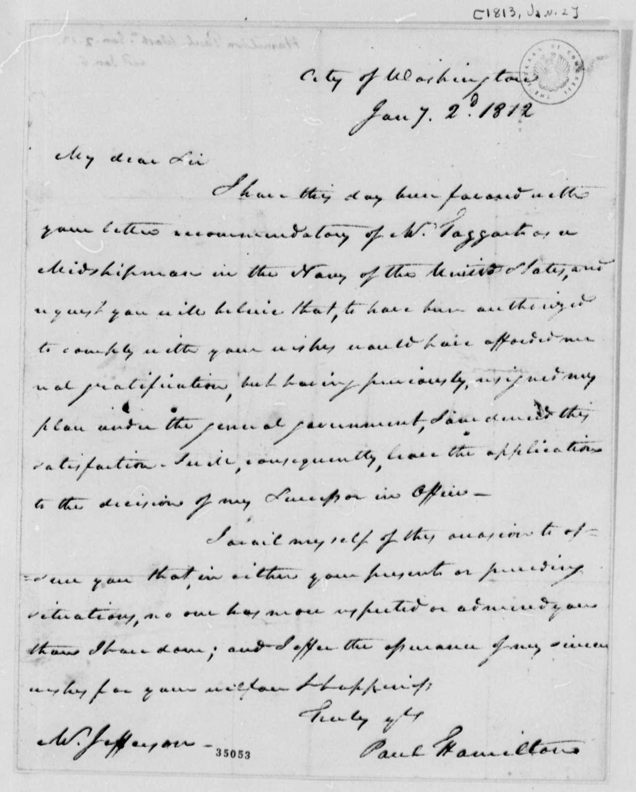 Paul Hamilton, January 2, 1813
