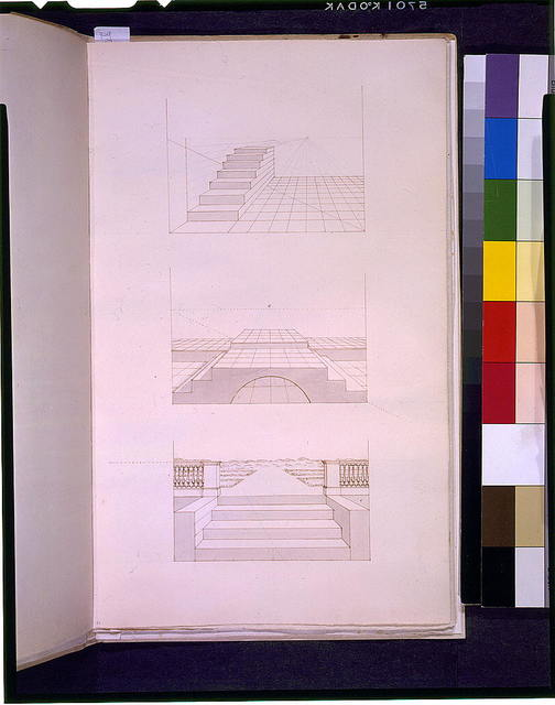 [Perspective representations of three stairways]
