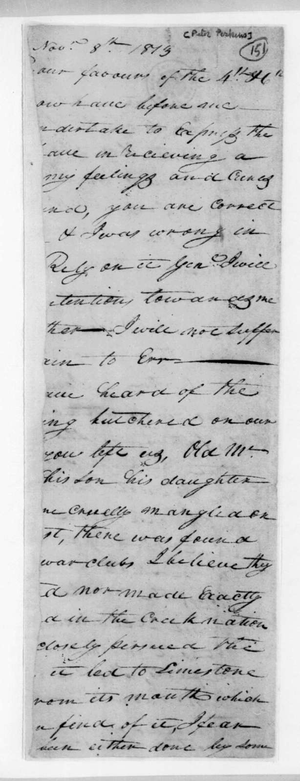 Peter Perkins to Unknown, November 8, 1813