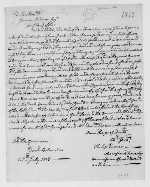 Philip Turner to James Madison, July 28, 1813.