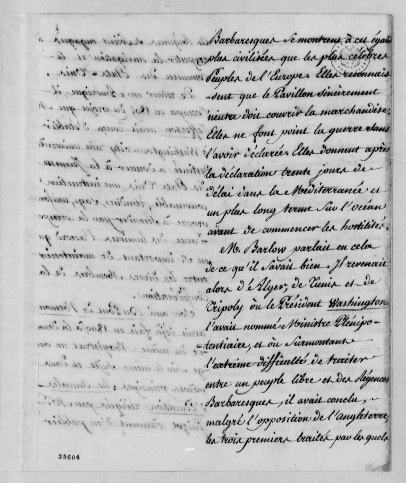 Pierre S. Dupont de Nemours, 1813, Notice on Barlow, in French