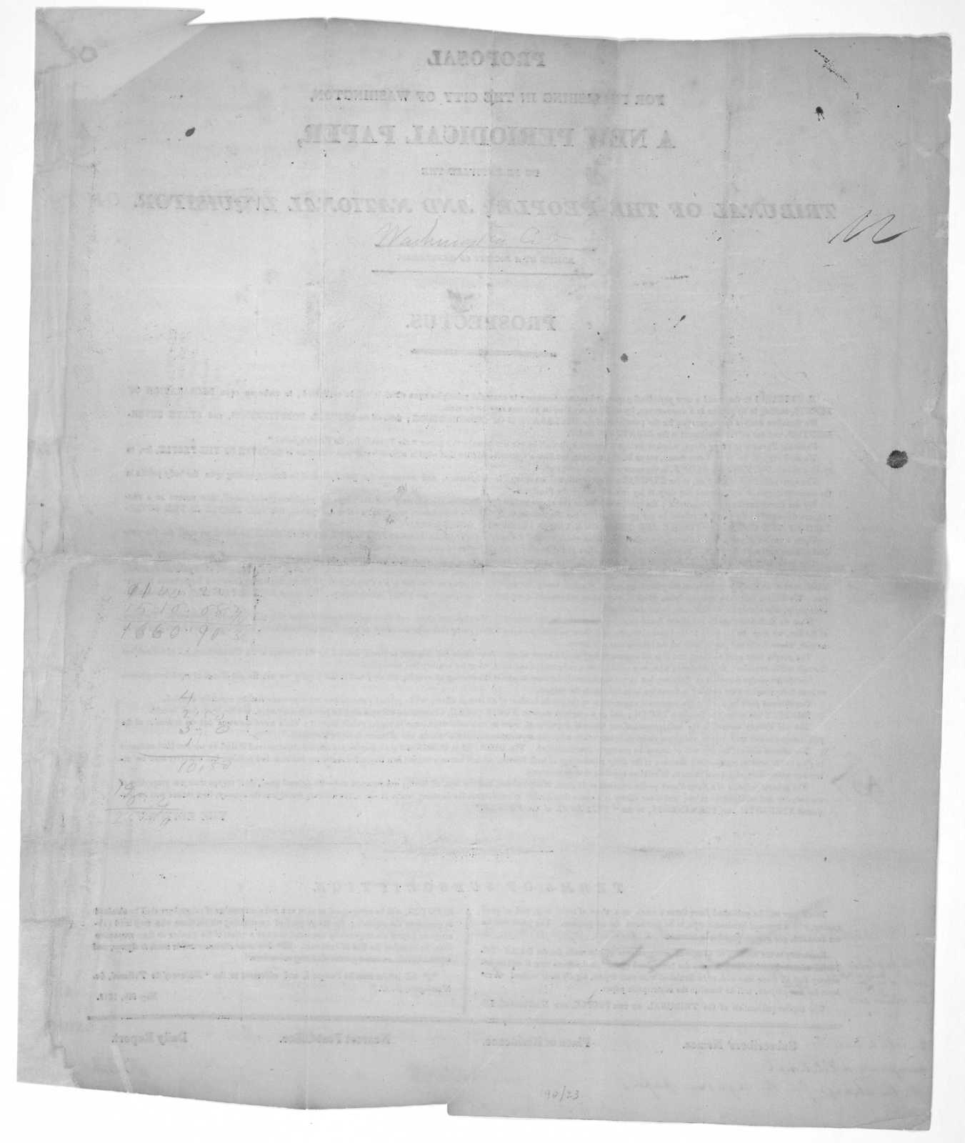 Proposal for publishing in the City of Washington, a new periodical paper, to be entitled the Tribunal of the people; and national inquisitor. Edited by a Society of gentlemen. Prospectus ... Washington, May 9th, 1818.