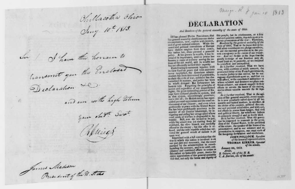 Return J. Meigs to James Madison, January 10, 1813. Resolution of the Ohio Assembly.