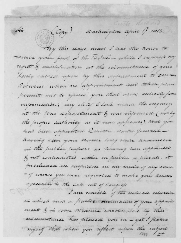 Richard Cutts to Abraham G. Lansing, April 17, 1813. With Tax Draft.