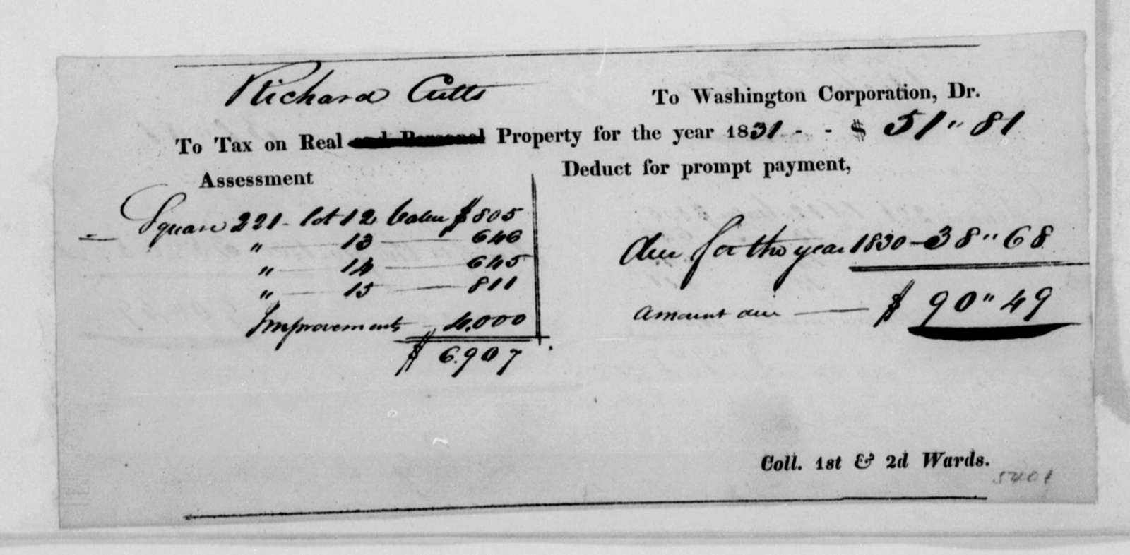 Richard Cutts to Abraham G. Lansing, April 17, 1813. With Tax Draft.