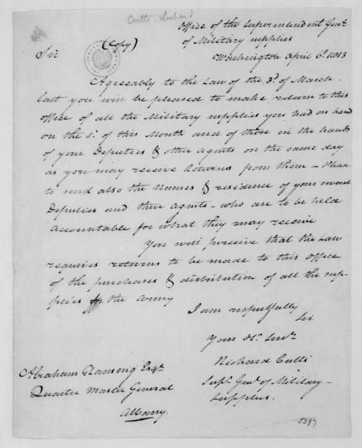 Richard Cutts to Abraham G. Lansing, April 6, 1813.