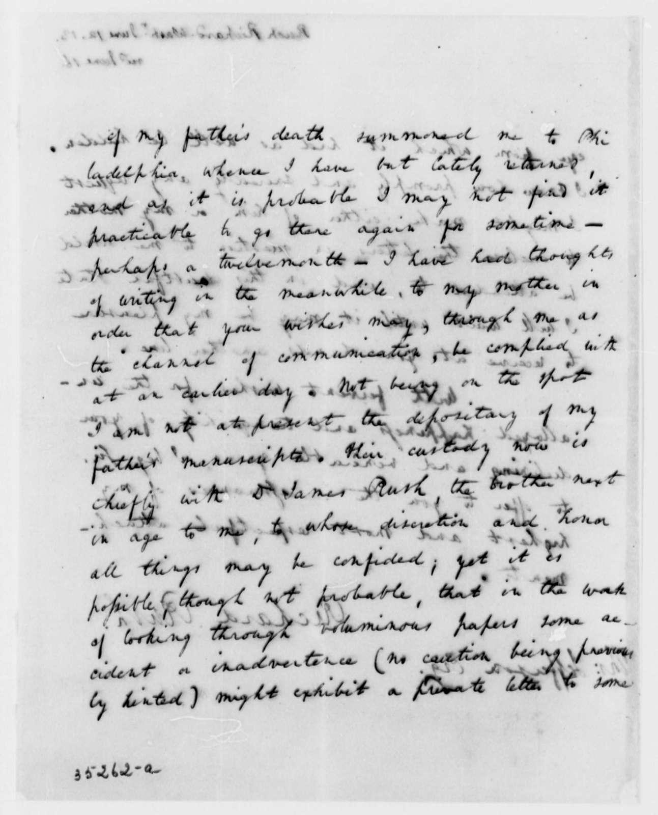 Richard Rush to Thomas Jefferson, June 12, 1813