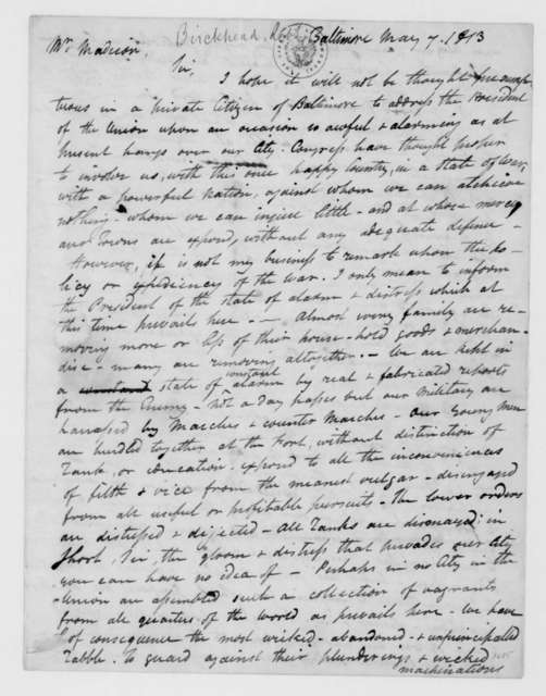 Robert Birckhead to James Madison, May 7, 1813.