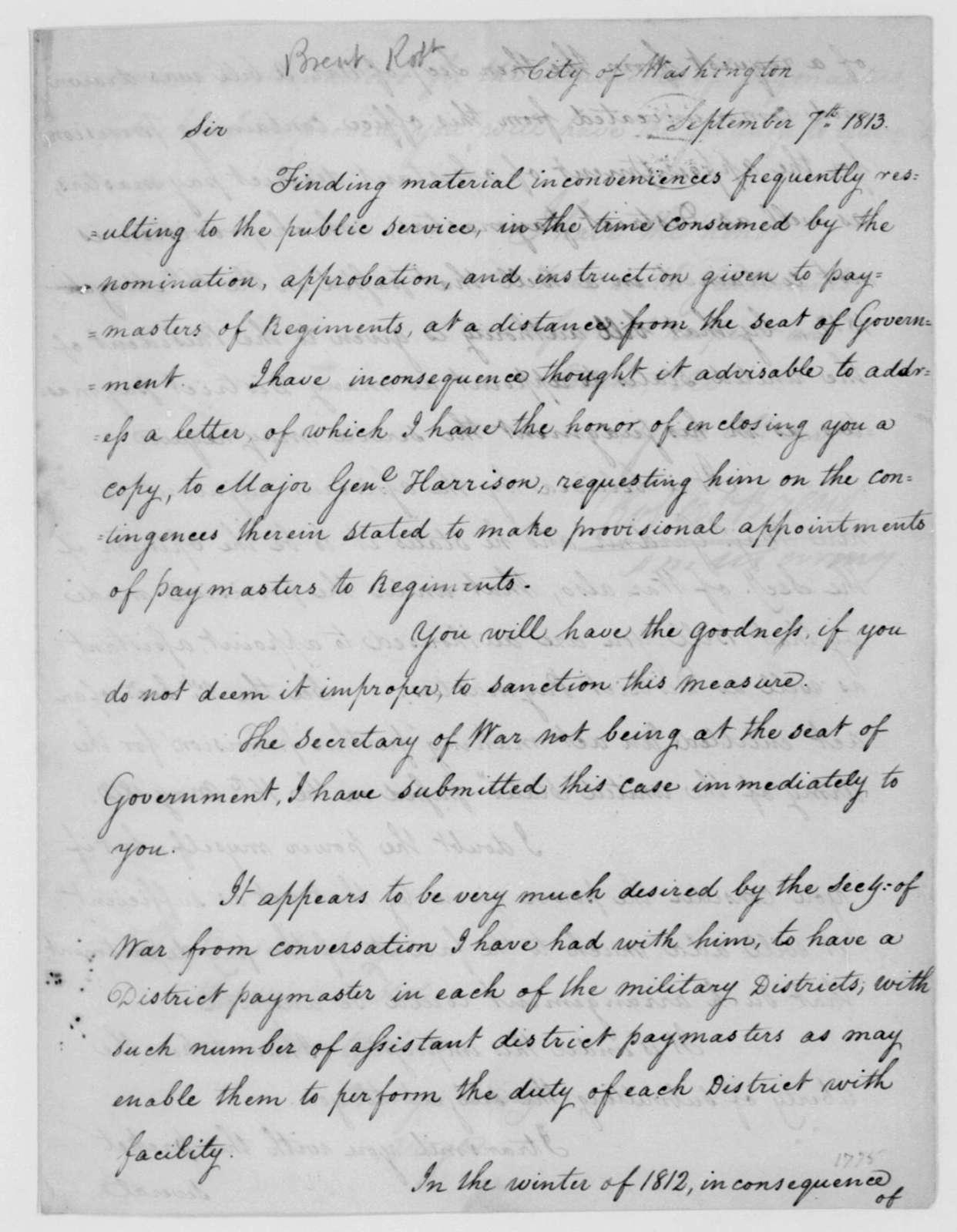Robert Brent to James Madison, September 7, 1813.