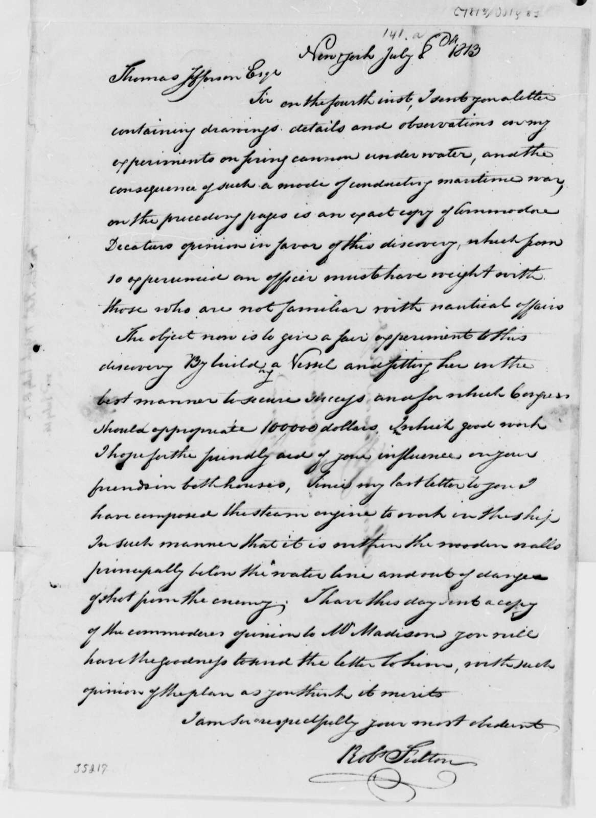 Robert Fulton to Thomas Jefferson, July 8, 1813