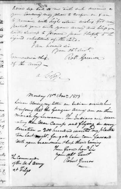 Robert Grierson to Andrew Jackson, November 13, 1813